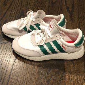 Adidas Boy New I-5923 Cloud White Bold Green. Sz 5